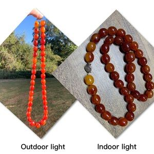 Vintage Bakelite cherry amber beaded necklace